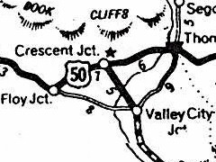 Old map of Crescent Junction, Utah, showing the original roads from Floy to Valley City and on to Thompson - Click for larger image (http://jamesmcgillis.com)