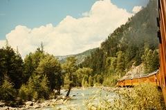 Thunder clouds build as the Denver & Rio Grande Durango & Silverton steam train heads back to Durango in 1965 - Click for larger image (https://jamesmcgillis.com)