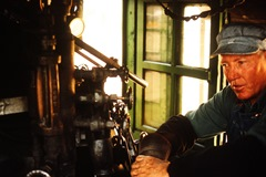 Looking every bit the professional that he was, Engineer Steve Conner held court in the cab of Engine No. 478 at Silverton, Colorado in 1965 - Click for larger image (htp://jamesmcgillis.com)
