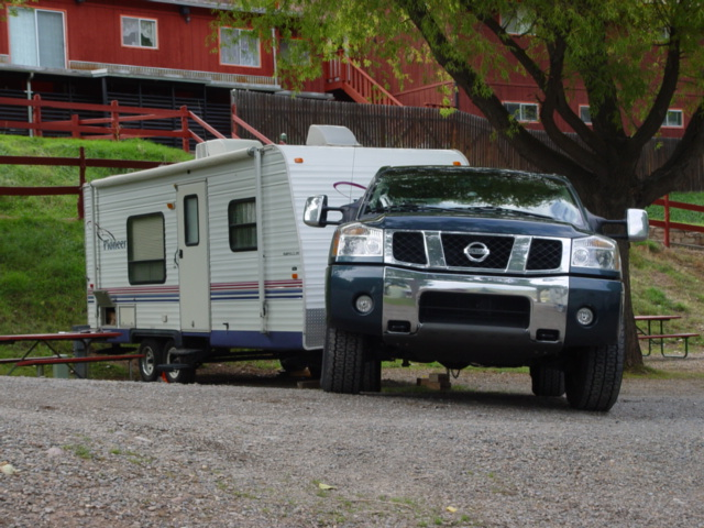 Our Nissan Titan Truck and Pioneer travel trailer in the Upper Animas Valley, near Durango, Colorado - Click for larger image (http://jamesmcgillis.com)