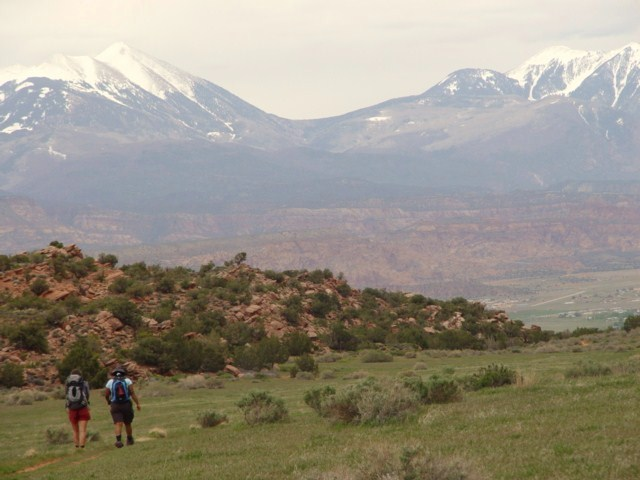 Hiking the Moab Rim Trail, with a clear view of Geyser Pass, La Sal Range, Moab, Utah (http://jamesmcgillis.com)