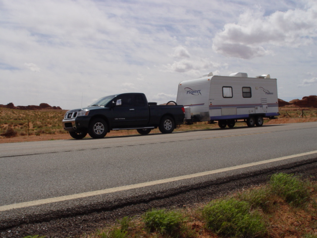 Titan LE pickup truck and Pioneer Travel Trailer - Click for larger image (http://jamesmcgillis.com)