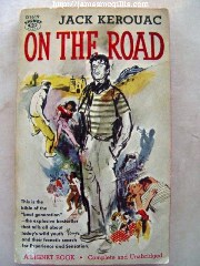 "Paperback Book Cover - Original Signet Paperback 1st Edition of Jack Kerouac's 1957 novel ""On the Road"" - Click for larger image (http://jamesmcgillis.com)"