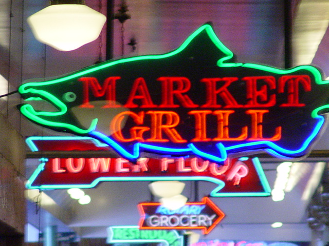 "Neon sign for the ""Market Grill"", Seattle, Washington (http://jamesmcgillis.com)"