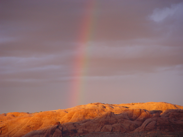 A rainbow over the Slickrock Trail at Moab, Utah - Click for larger image (http://jamesmcgillis.com)