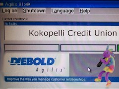 "The ""Log on"" screen of the Kokopelli Federal Credit Union Diebold Agilis ATM does not allow for changes to debit card withdrawal limits - Click for larger image (http://jamesmcgillis.com)"