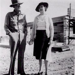Ed and Erma Wimmer at Crescent Junction during construction of the original service station - Click for large image (http://jamesmcgillis.com)