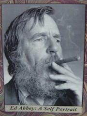 "Richard Byrd's photo of Edward Abbey, from the audio CD ""Ed Abbey: Self Portrait"", recorded by Jack Loeffler in 1983 - Click for larger image (http://jamesmcgillis.com)"