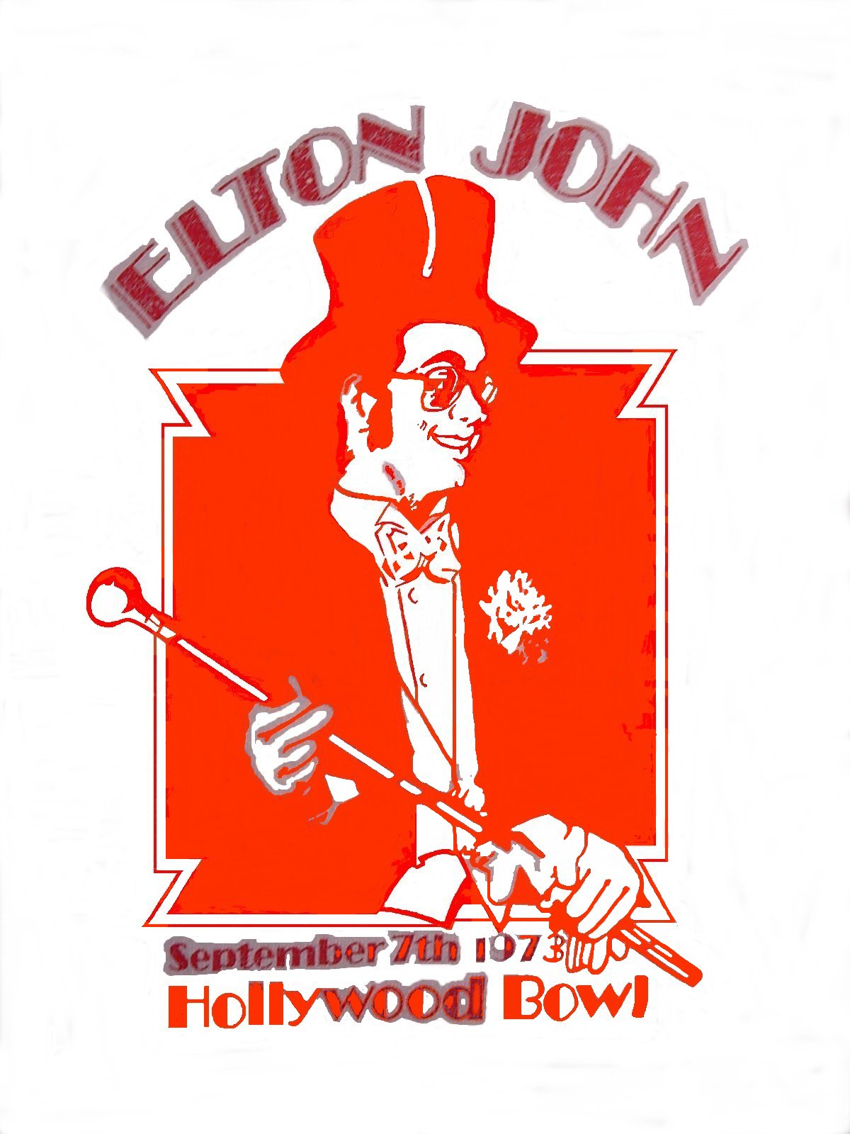 Classic Elton John 1973 Tshirt Image, Undergoing