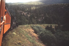 The Author (Jim McGillis) looks back toward the camera as Engine No. 478 pulls a hill on the Durango & Silverton Narrow Gauge line in 1965 - Click for larger image (http://jamesmcgillis.com)