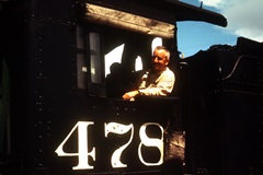 Dr. L.N. (Duke) McGillis at the controls of the old Denver & Rio Grande Engine No. 478 in the year 1965 - Click for larger image (http://jamesmcgillis.com)