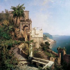 A view of the terrace and pergola of the Capuchin Convent at Amalfi by Austrian artist Franz Richard Unterberger (1838-1902) - Click for larger image (https://jamesmcgillis.com)
