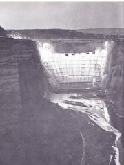 By the early 1960s, the building of the Glen Canyon Dam along the Colorado River in Arizona was a 24-hour per day operation - Click for larger image (http://jamesmcgillis.com)