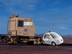 Early crash tests of a Union Pacific Model B-40 Burro Crane and a prototype Google Pop Car show the resilience of the autonomous railroad safety car - Click for larger image (http://jamesmcgillis.com)