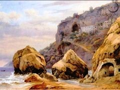 A view looking up to the monastery trail at the Capuchin Convent at Amalfi by Hermann David Salomon Corrodi (1844-1905) - Click for larger image (http://jamesmcgillis.com)