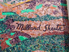 As the chief architect for Home Savings, Millard Sheets name appeared on each mosaic tile mural, despite the fact that Denis O'Connor executed each of them - Click for larger image of the former Santa Monica branch (http://jamesmcgillis.com)