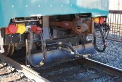A diminutive anti-derailment plow (similar to this one) on Metrolink Hyundai-Rotem cab car No. 645 may have contributed to the derailment of Metrolink Train No.102 in the February 2015 Oxnard Metrolink collision - Click for larger image (http://jamesmcgilis.com)