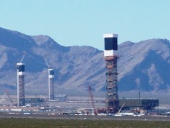 The three solar thermal units at Ivanpah missed the opportunity to utilize passive solar panels as well as reflective mirrors to increase efficiency of the project - Click for larger image (http://jamesmcgillis.com)