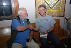 Aural Historian and author Jack Loeffler (left) and Jim McGillis at the Moab Confluence Conference in 2008 - Click for larger image (htttp://jamesmcgillis.com)