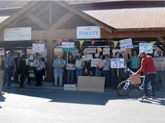 Peaceful protestors gathered at Fidelity Energy's Moab Office, although the company was conveniently closed for the day - Click for larger image (photo courtesy Jane Butter, Grand Canyon Trust)