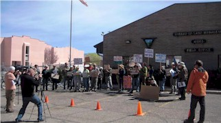 Forty local residents and environmentalists protested the industrialization of Greater Canyonlands at the BLM Office in Moab, Utah - Click for larger image (photo courtesy Jane Butter, Grand Canyon Trust)