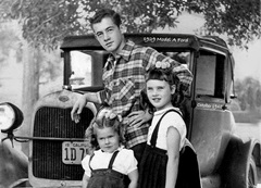 Jim (Jimbo) Forrest with his two sisters, Cheri and Martie and his 1929 Model-A Ford pictured in 1948 - Click for larger image (http://jamesmcgillis.com)