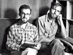 Jim (Jimbo) Forrest with Edward Abbey in Ed's apartment at the University of New Mexico 1954 - Click for larger image (http://jamesmcgillis.com)