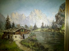 Original Oil painting of a chalet in Northeastern Italy includes the Dolomite Mountains, by artist Costantino Proietto - Click for larger image (http://jamesmcgillis.com)