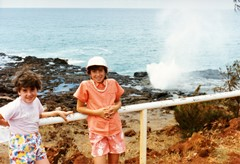 My daughters, Robyn (left) and Tracy (right) at the famous Spouting Horn, near Poipu Kaua'i in 1988 - Click for larger image (http://jamesmcgillis.com)