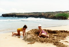 Building a sand fort at the unspoiled Gillins Beach near Poipu, Kauai in 1988 - Click for larger image (https://jamesmcgillis.com)