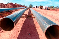 Natural gas transmission pipes soon to be laid beneath Utah State Highway 313, courtesy Kiley Miller - Click for larger image