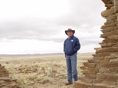 Jim McGillis at Kin Klizhin Ruin, Chaco Canyon, NM on a cold day in May 2008 - Click for larger image (http://jamesmcgillis.com)