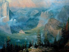 "In subdued lighting, this detail of Thomas Kinkade's ""Yosemite Valley"" appears to show the Alpenglow of sunset - Click for larger image (http://jamesmcgillis.com)"