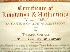 "Certificate of Limitation & Authenticity for Thomas Kinkade's ""Yosemite Valley"" signed & numbered print - Click for larger image (http://jamesmcgillis.com)"