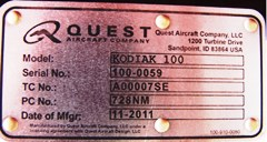 The Quest Aircraft Company ID tag shows that the Redtail Aviation Kodiak 100 is Serial #100-0059 - Click for larger image (http://jamesmcgillis.com)