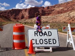 In fall 2013, Plush Kokopelli and Coney the Traffic Cone open up Arches National Park after the ill-timed federal government shutdown - Click for larger image (http://jamesmcgillis.com)