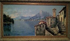 Original Oil painting of Gandria Village on Lake Lugano, Switzerland, by Costantino Proietto - Click for larger image (http;//jamesmcgillis.com)