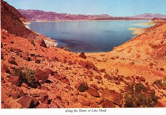 "This late 1960's photo of Lake Mead shows no sign of the the ""bathtub ring"" of exposed minerals that we see there today - Click for larger image (http://jamesmcgillis.com)"