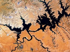 This undated Landsat image shows Lake Powell nearly at full capacity - Click for comparative images from 2000 and 2015 - (http://jamesmcgillis.com)
