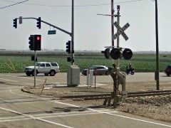 The deadly grade crossing at Las Posas Road and Fifth Street, Camarillo, California - Photo courtesy of Google Streetview - Click for larger image (http://jmaesmcgillis.com)