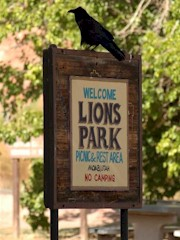 In this undated photo, a raven sits atop the welcome sign at old Lions Park in Moab, Utah - Click for larger image (https://jamesmcgillis.com)