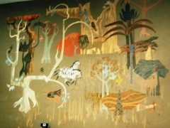 The lost mural of Denis O'Connor, depicting a fanciful Los Angeles Zoo now lies hidden behind a false wall inside the Chase Bank in Burbank, California - Click for a larger image of this lost artistic masterpiece (http://jamesmcgillis.com)