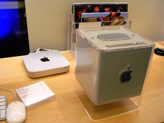 From the return of Steve Jobs to Apple, Inc. in 1997, through the Mac G4 Cube era and on to the last of its breed, a small form-factor slice one-tenth the size of the original in 2013 (background), the whole world appeared to get smaller - Click for larger image (http://jamesmcgillis.com)