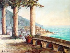 The McCoy Family C.Proietto painting of the Amalfi Coast - Click for larger image (http://jamesmcgillis.com)