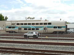 "Although derailed in the February 2015 Metrolink Oxnard collision, Hyundai-Rotem ""Guardian"" coach No. 263 remained upright - Click for larger image (http://jamesmcgillis.com)"