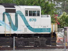 Metrolink Locomotive No. 870, an EMD F59PH was the pusher locomotive that derailed during the February 2015 Metrolink collision in Oxnard, California - Click for larger image (http://jamesmcgillis.com)