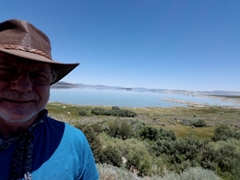The author, Jim McGillis at Mono Lake in late June 2017 - Click for lower lake level in July 2016 (https://jamesmcgillis.com)