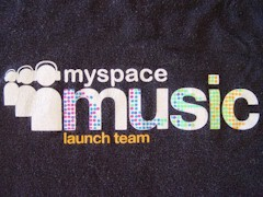 MySpace Music Launch Team t-shirt logo 2008 - Click for larger image (http://jamesmcgillis.com)