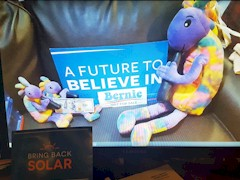 Plush Kokopelli supports candidate Bernie Sanders and the campaign to Bring Back Solar in Nevada - Click for larger image (http://jamesmcgillis.com)