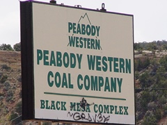 Hiding their activities in shame, this highway sign for Peabody Western Coal Company at Black Mesa disappeared several years ago - Click for larger image (http://jamesmcgillis.com)